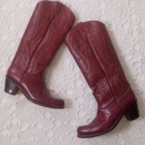 Vtg Sasson8.5  Red Leather Cowboy Boots Western